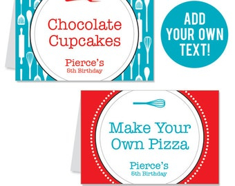 INSTANT DOWNLOAD Cooking Party Buffet Cards - EDITABLE Printable File