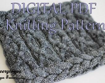 KNIT PDF Digital Pattern - Brandi-Lee Cable Cowl Loop Scarf