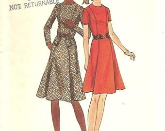 Butterick 6470 / Vintage 70s Sewing Pattern / Dress / Size 14 Bust 36