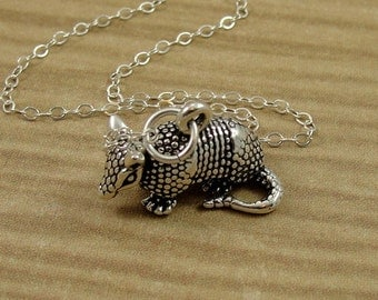 Armadillo Necklace, Sterling Silver Texas Armadillo Charm on a Silver Cable Chain