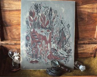 Stump and Antler - momeno mori - original painting