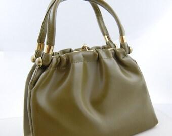 60s Vinyl Olive Green Handbag 60s 70s Green Handbag