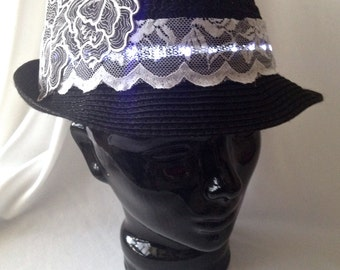 LED Fedora BLACK & WHITE with White Lights, Lace and Flower Applique Women's Trilby Hat - Illuminated, Light Up, Glow, Burning Man, Festival
