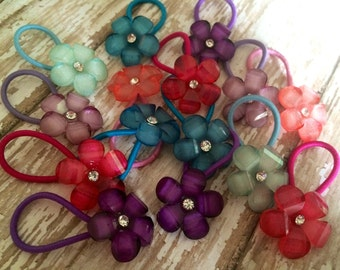 Button Hair Ties - Button Hair Clips - Ponytail Holders - Jeweled Flowers - Pick your Colors & Quantity