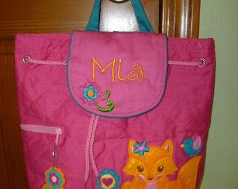 Personalized Fox Backpack Stephen Joseph Kids Embroidered School Bag Childs Monogrammed Tote with Easy Ordering