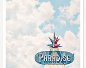 Paradise - Retro Neon Sign Photograph - MidCentury Modern Wall Art - Pastel Color Photo - Turquoise Blue Pink - Nostalgic Travel Photography