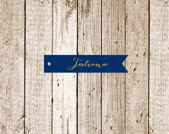 Gold Foil Printed Name Tags-Flag tags-Favor Tags- Gold Foil Printed Place Tags