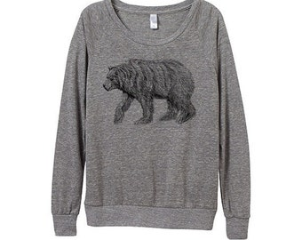 New! California Bear Sweater  - Womens Grizzly Bear Sweatshirt   - Small, Medium, Large, Extra Large (3 Color Options)