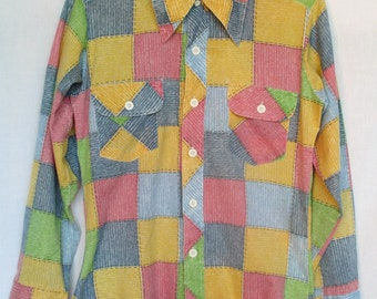 1970s Men's Shirt Faux Patchwork Sears Put On Shop, Small