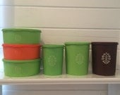 """Lot of Vintage 70's  """"Servalier"""" Tupperware Containers in Various Sizes and Colors"""