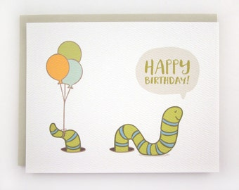 Worm Wishes - Birthday Card