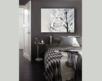 Large Modern Abstract Canvas, White, Gray, Wall Art Canvas, Modern Tree, Christmas Lights