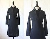 c1960's Black Knit Dress Sz S/M