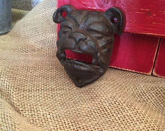 Bulldog Bottle Opener - Cast Iron - Wall Decor - Man cave - Distressed - You pick color
