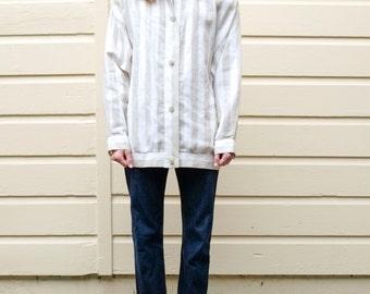 Vintage Linen 1990's Striped Oatmeal & Cream Funnel Neck Jacket M/L