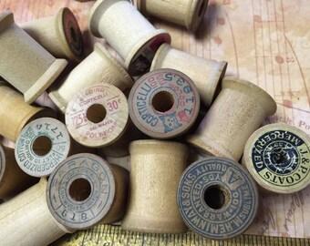Vintage Wood Thread Spools Package of 6