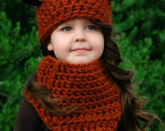 Crochet Pattern - The Fáline Fox Hat and Cowl Set (Baby, Toddler, Child sizes)