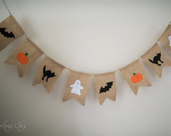 Halloween Banner, Halloween, Halloween Decor, Halloween Decoration, Bats Cats Pumpkin Ghost Banner