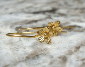 24x12 mm, 5% off 10 pairs, Handmade 24K Gold Vermeil Sterling Silver Daisy Blossom Floral Earwires, Artisan, ew-0014