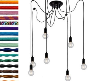 7 Swag Chandelier with any color, length, hardware and bulbs.  Modern Chandelier - Vintage Light Fixture - Modern Light - Vintage Lighting
