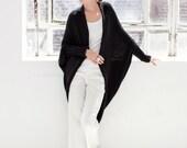 Loose Sweater Bolero / Black Cardigan / Sweater Shrug / Stylish Shrug / Sweater Jacket / Long Shrug / marcellamoda - MC181