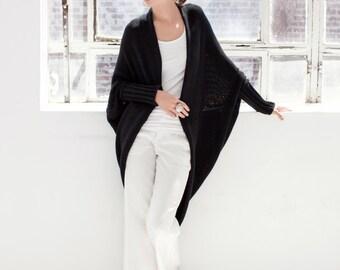 Loose Sweater Bolero / Black Cardigan / Sweater Shrug / Stylish Shrug / Sweater Jacket / Long Shrug / marcellamoda k - MC181