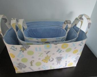 Nesting Basket PATTERN,  Set of 3 Sizes included, easy sewing pattern, Fabric Bin, Sewing Basket, Nursery Organization Decor, Diaper Storage