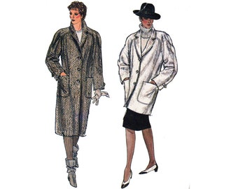 80s Womens Raglan Sleeved Coat Pattern Vogue 8441 Vintage Sewing pattern Size 14 Bust 36 inches