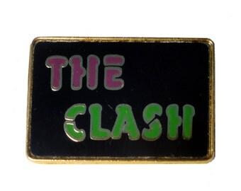 vintage THE CLASH metal enamel pin button London Calling Combat Rock