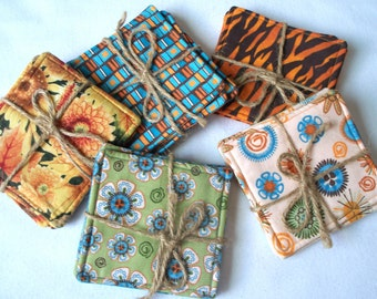 Fall Harvest Quilted Coasters or Mug Rugs, Your Choice Flowers,Designs,Blocks,Tiger Stripes Collector,Custom Candle Mats Set of 4, RTS OOAK