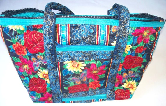 Butterflies and Gold Rimmed Flowers and Leaves Quilted Purse,Colorful Handbag Quilted Inside/Out,Twelve Multiple Pockets,Key Clip,RTS,OOAK