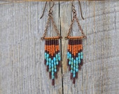 HONEYDEW. Glass and turquoise beaded and chain earrings. 38-E
