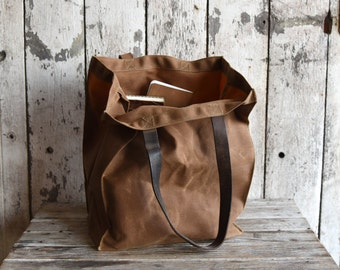 Marlowe Carryall in Spice, Waxed Canvas Tote, Waxed Canvas Bag, Shoulder Bag, Market Tote, Waxed Canvas Carryall, Leather, For Him, For Her