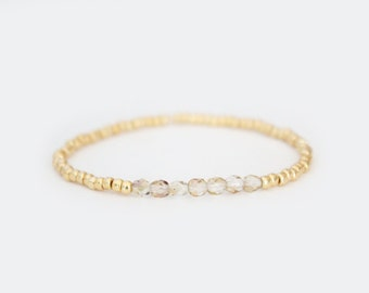 Champagne and Gold Beaded Bracelet - Navi