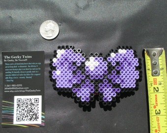 purple bow, geeky bow, nerdy bow, gamer accessories, gamer girl, hair bow, bow, purple, pixel bow, pixel art, 8-bit bow, 8bit, geeky gifts