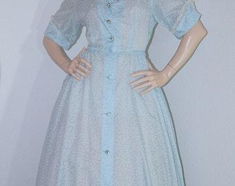 SC Vintage 1950s Full Skirt Dress / 50s Light Blue Atomic Print Sheer Nylon Dress / I Love Lucy Full Length Full Skirt Dress by Campus Girl
