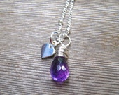 Sterling Silver Amethyst Necklace, Little Girl Jewelry, Purple Gemstone Pendant, Children Birthstone Necklace, February Birthday