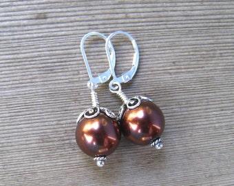 Chocolate Pearl Earrings,  Sea Shell Pearl,  Brown Pearl Earrings,  June Birthstone Jewelry in Sterling Silver