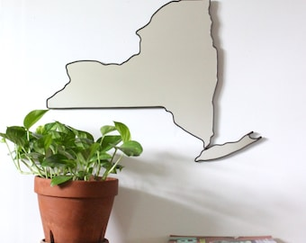 New York Mirror New York Wall Mirror State Outline Silhouette NY Shape Manhattan Brooklyn Art