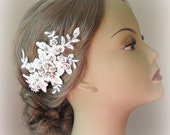 Ivory Lace Bridal Fascinator, Crystals and Pearl Wedding Head Piece, Silver or Gold - AUBREY