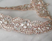 Rose Gold Crystal Trim, Rose Gold Rhinestone Beaded, Rose Gold Bridal Applique for Wedding Gown or Sash, 24""