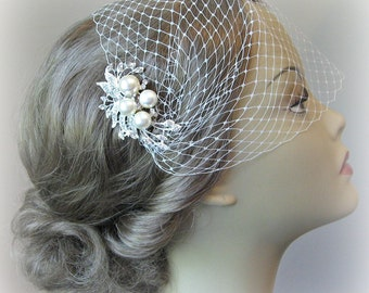 Wedding Veil and Comb Set, Bandeau Birdcage Veil, Bird Cage Veil With Ivory Pearl and Rhinestone Fascinator Comb - JOSEPHINE