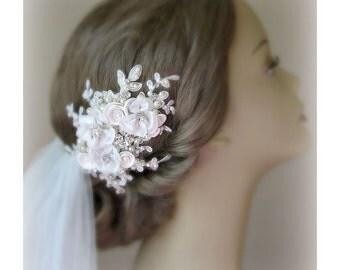 Ivory Wedding Hair Flowers, Bridal Fascinator, Hair Flowers with Rhinestones and Pearls - INGENUE