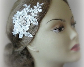 Ivory Lace Bridal Fascinator, Lace Headpiece, Rhinestone and Pearl Hair Flowers, Wedding Head Piece, Silver or Gold - AUDREY