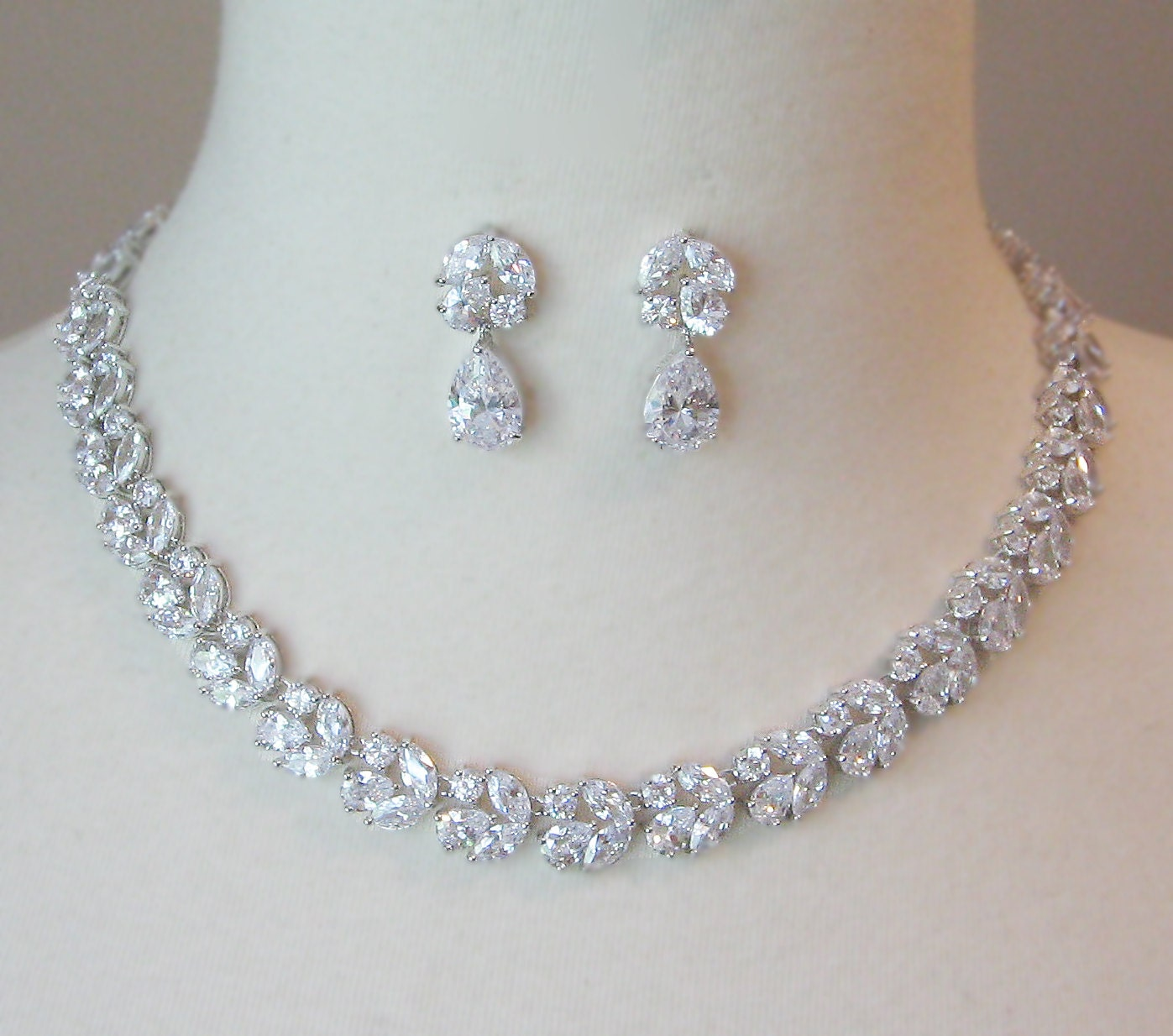 Cubic Zirconia Jewelry Sets : Cubic zirconia necklace and earrings bridal set vintage style
