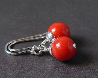 Red Coral Earrings Sterling Silver Natural Stone Coral Drop Gemstone Earrings Red Earrings Medium Red Coral Grade AA Christmas Gift for Her