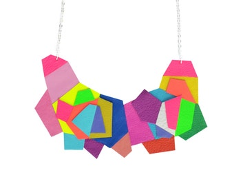 Geometric Necklace, Rainbow Bib Necklace, Colorful Necklace, Polygon Hexagon Necklace, Leather Neon Modern Jewelry, Geometric Jewelry