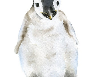 Penguin Watercolor Painting Fine Art Giclee Reproduction Print 8 x 10 (8.5 x 11) -Nursery Art - Emperor Penguin Arctic