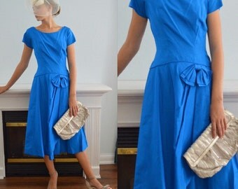 Vintage Jonathan Logan Blue Taffeta Dress, 1960s Jonathan Logan, 1960s Dress, Blue Taffeta Dress, Wedding, Jonathan Logan