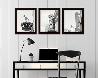 Nashville black and white photography prints, Nashville wall art, set of 3 photos, Nashville sign art, wall art photos, gallery wall set
